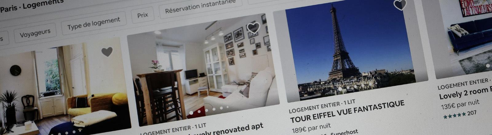 Benutzeroberfläche der Airbnb-Website