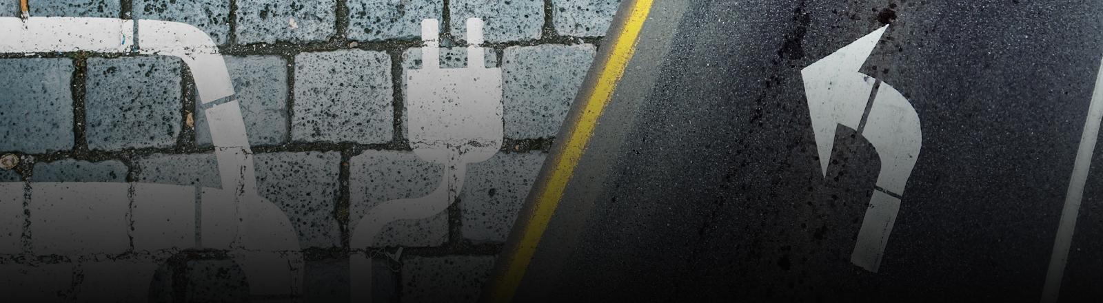Linke ein Puktogramm eines Elektroautos auf Pflastersteinen, rechts ein Abbiegepfeil auf einer Straße