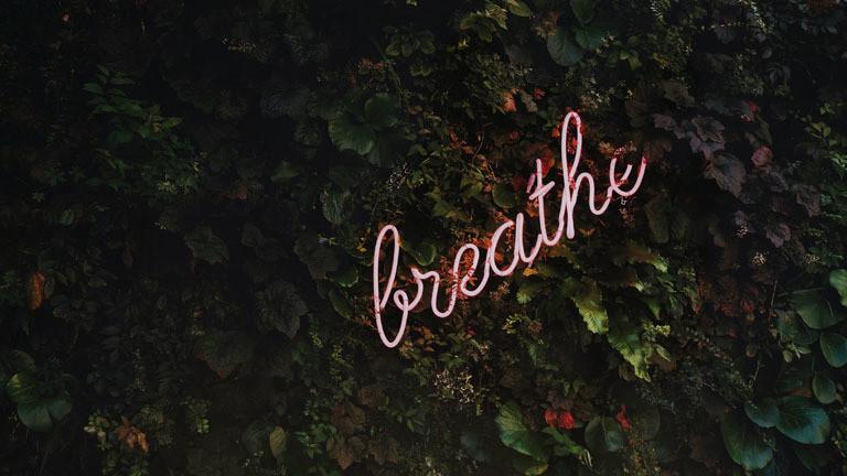 """Neonschriftzug """"Breathe"""""""