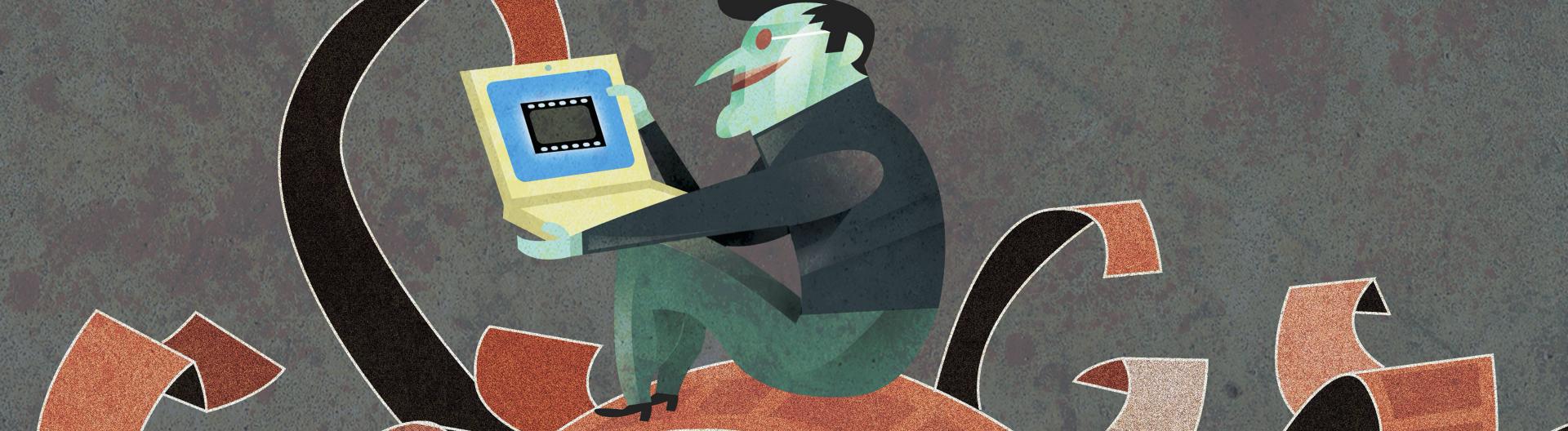 Comic: Mann sitzt mit Laptop auf Filmstreifen