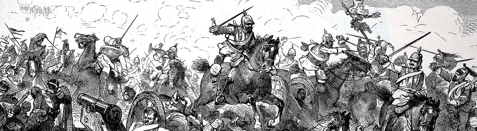 Ein Holzschnitt zeigt die Schlacht bei Vionville, im deutsch-französischen Krieg 1870/71.