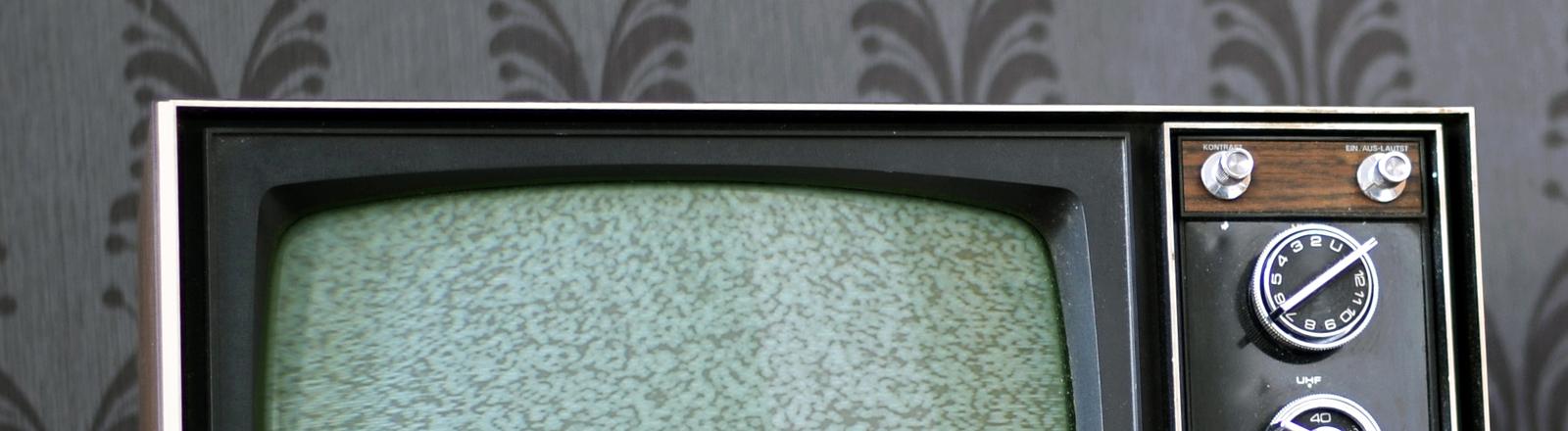 Fernsehr vor altmodischer Tapete
