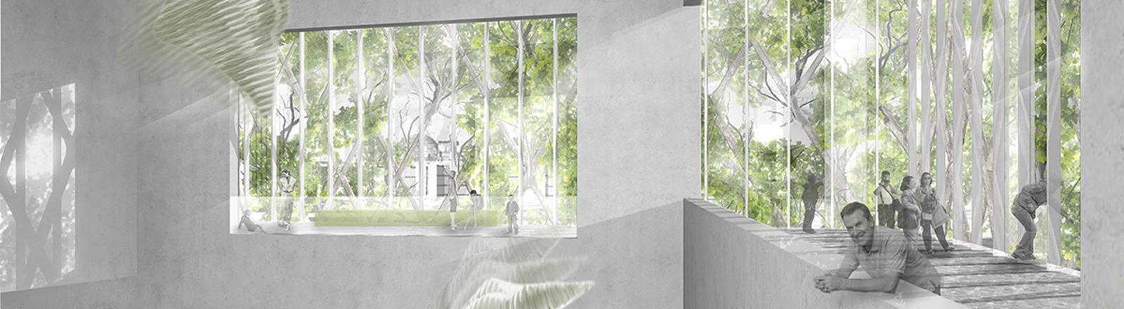 Ein Gebäude, das von Bäumen umwachsen ist. Architekturstil: Baubotanik.