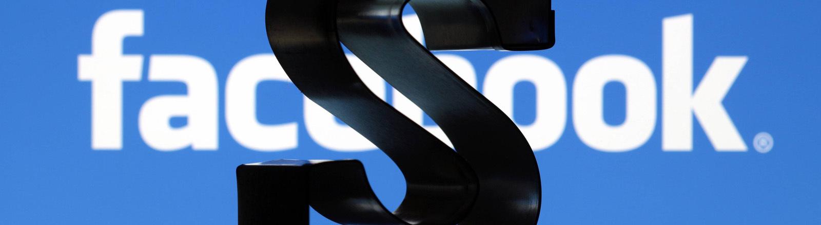 Dollar Zeichen mit Facebook im Hintergrund
