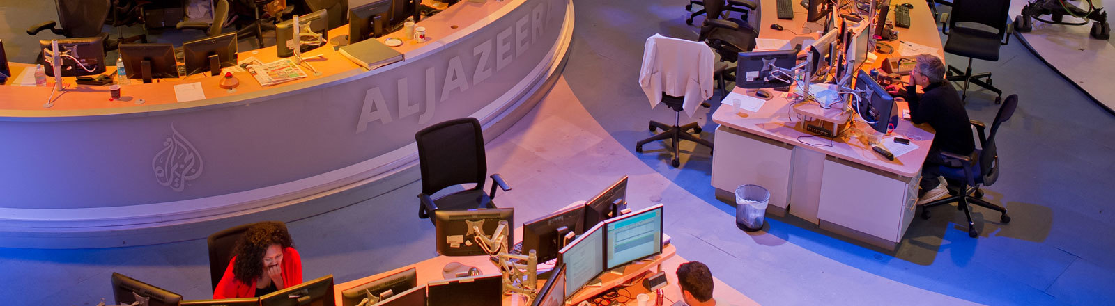 Nachrichtendesk des Senders Al Jazeera in Doha, Katar