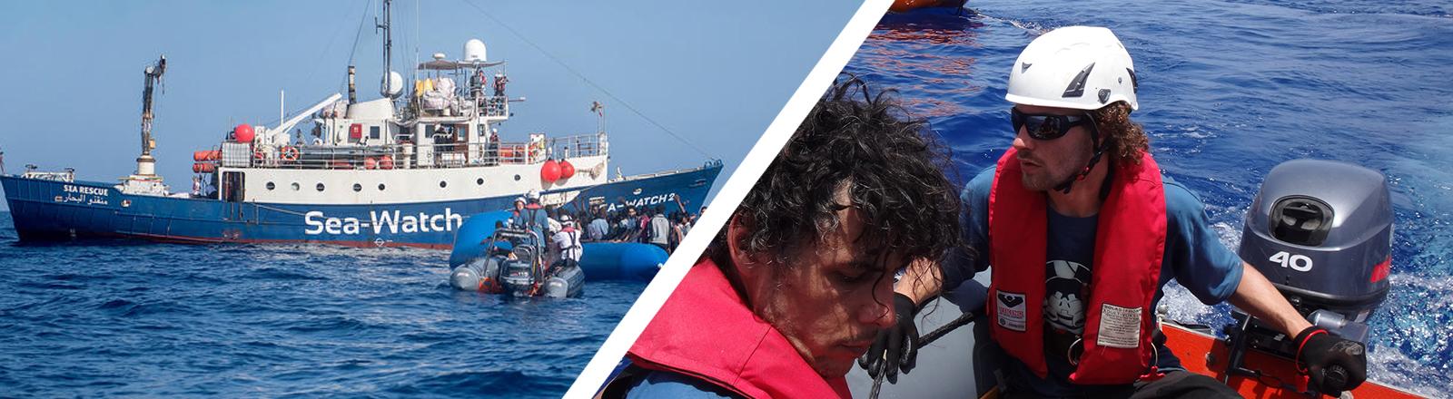 Collage: Links die Sea-Watch 2 auf hoher See, rechts 2 Männer in einem Schlauchboot.