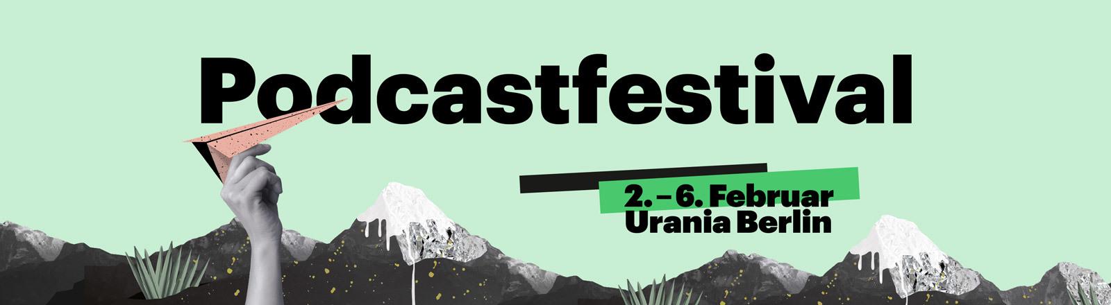 Werbegrafik für das Deutschlandfunk Nova Podcastfestival vom 2.-6.2.2020 in der Urania, Berlin.