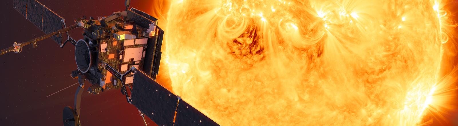 """Eine Illustration der Sonde """"Solar Orbiter"""" vor der Sonne."""