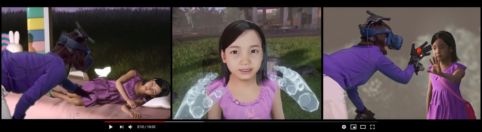 Das VR-Mädchen Nayeon mit ihrer echten Mutter, die ein Virtual-Reality-Headset trägt.