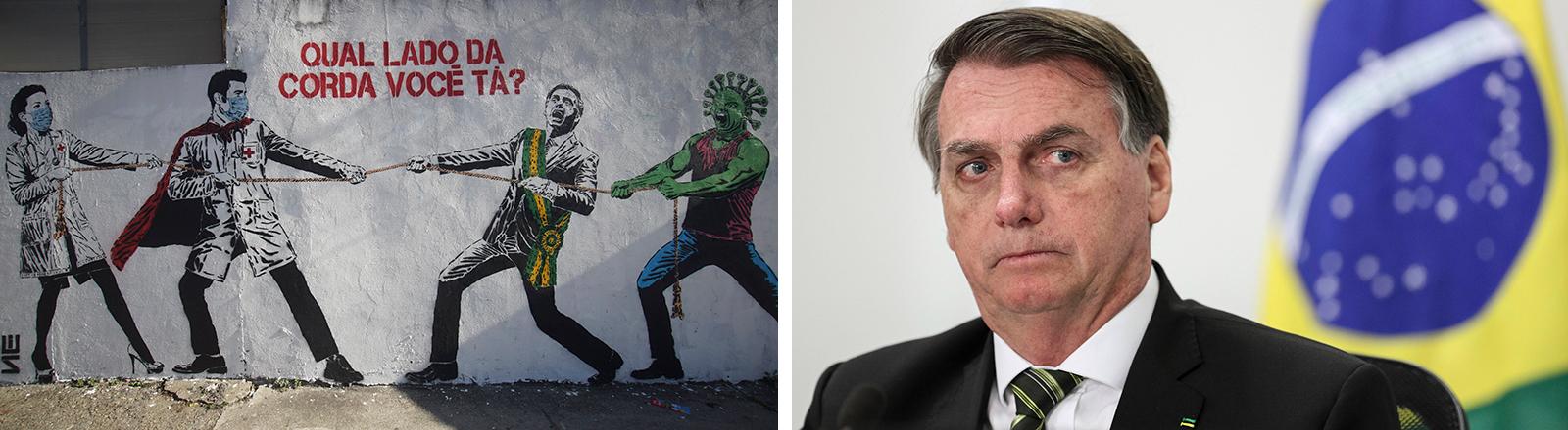 Collage: Ein brasilianisches Graffiti, das sich mit der Situation des Landes in der Corona-Krise auseinandersetzt. Ein Porträt des brasilianischen Präsidenten Jair Bolsonaro.