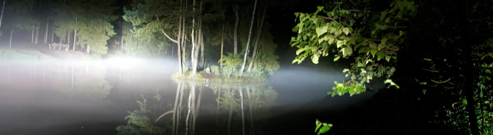 Ein kleiner See im Wald bei Nacht, der in mystisches Licht getaucht ist.