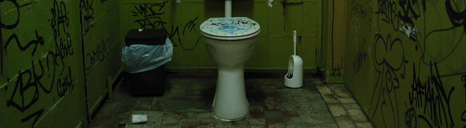 Eine Toilette in einer Kabine mit beschriebenen Wänden