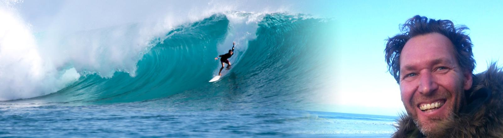 Surfer auf einer Welle, Porträt Maximilian Reuter
