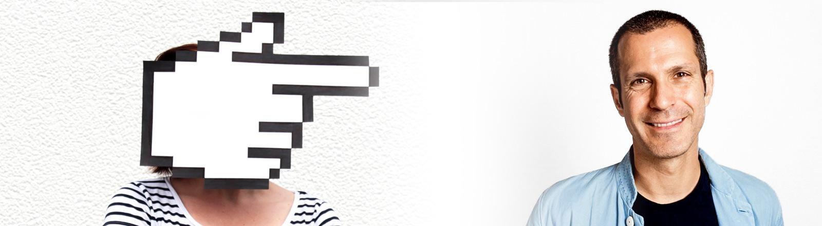 Collage: Hannes Ley rechts, links eine Person mit digitaler Hand als Kopf