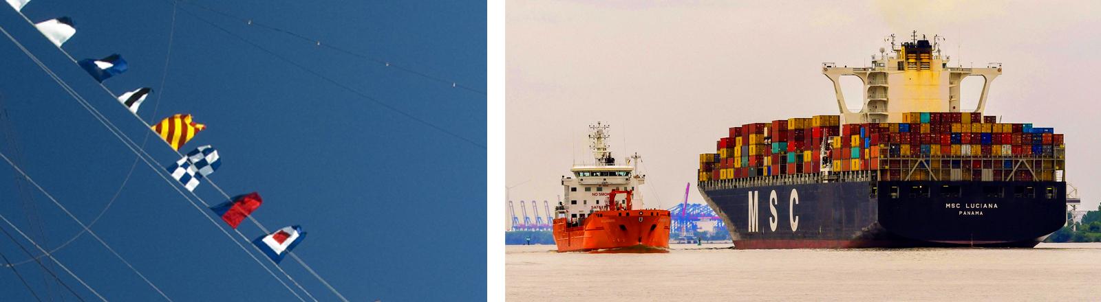 Collage: Flaggen und Frachtschiff aus Panama