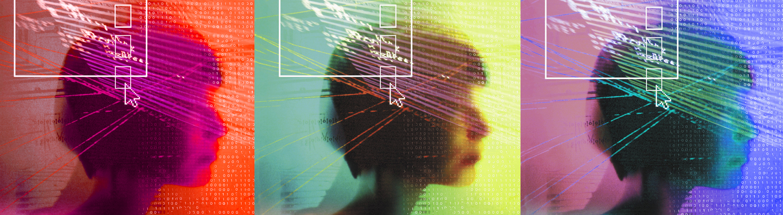 Kopf einer Frau mit digitalen Daten (Symbolbild)