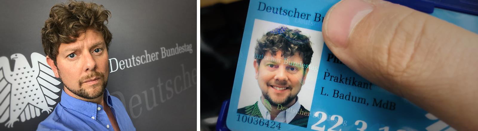 Selfie von Philipp Möller im Bundestag und Nahaufnahme seines Bundestagsausweises
