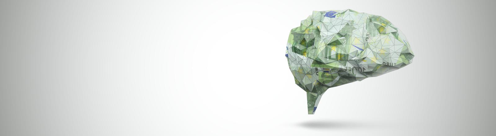 Illustration: Ein Gehirn aus 100-Euro-Scheinen