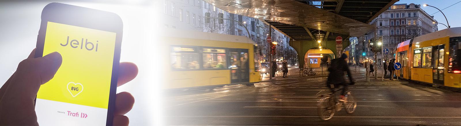 Links die App Jelbi auf einem Smartphone, rechts eine nächtliche Berliner Kreuzung mit Fahrradfahrer und Straßenbahnen