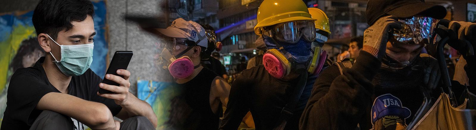 Ein Demonstrant in Hongkong schaut auf sein Smartphone. (21.06.2019) | Demonstranten mit Gasmasken bei den Protesten in Hongkong (01.10.2019)