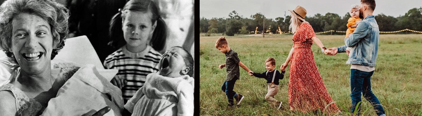 Glückliche Familien 1950 und heute.