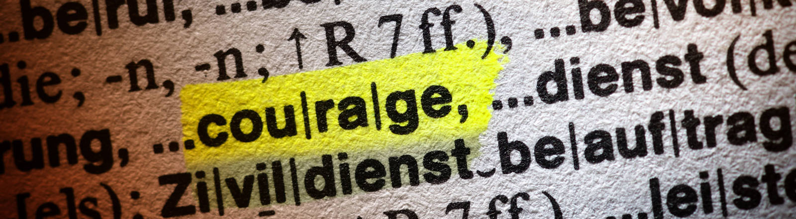 Das Wort Zivilcourage ist in einem Wörterbuch markiert.