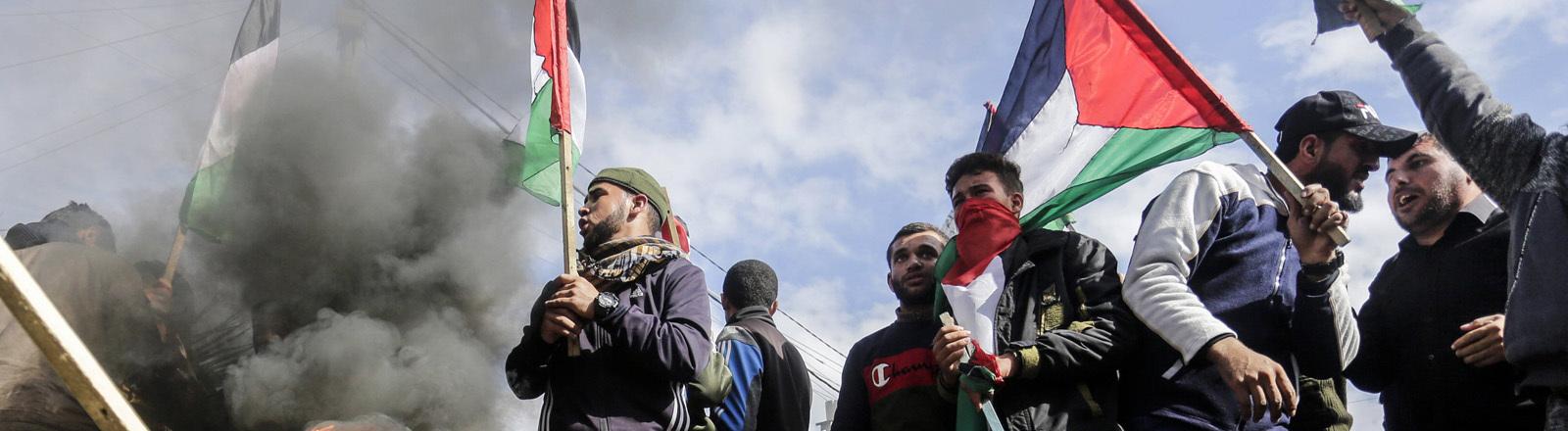 Proteste in Gaza Stadt gegen Donald Trumps Nahost-Plan am 28.1.2020