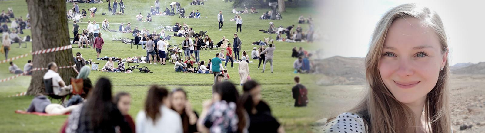 Links: Menschengruppen im Park, rechts: Judith Fürstenberg lächelt in die Kamera.