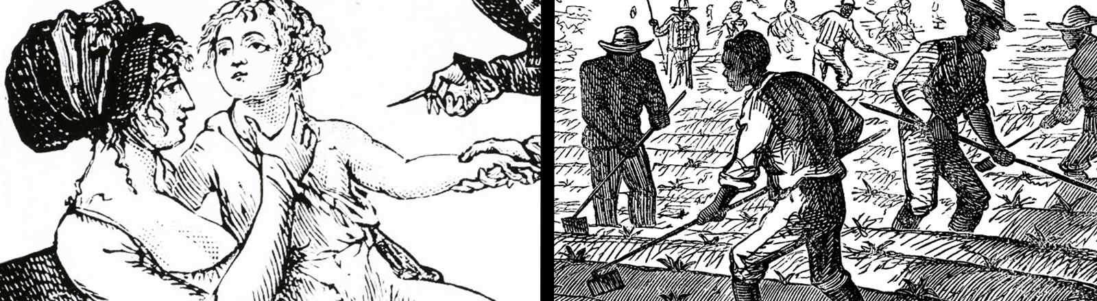 Collage von zwei Stichen, links Impfung an einem Kind, rechts: Sklaven arbeiten auf einem  Feld