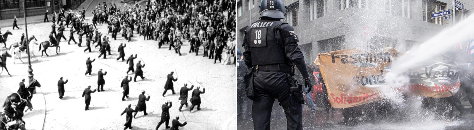 Die Polizei geht gegen Demonstrierende vor, einmal in der Weimarer Republik 2019 in Berlin, eimal mit Wasserwerfern bei einer Gegendemonstration.
