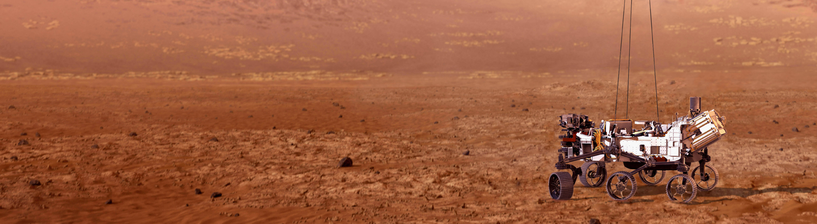 Eine Illustration der Nasa, wie der Perseverance-Rover auf dem Mars landen könnte.