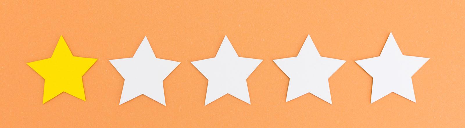 Fünf Sterne zur Bewertung