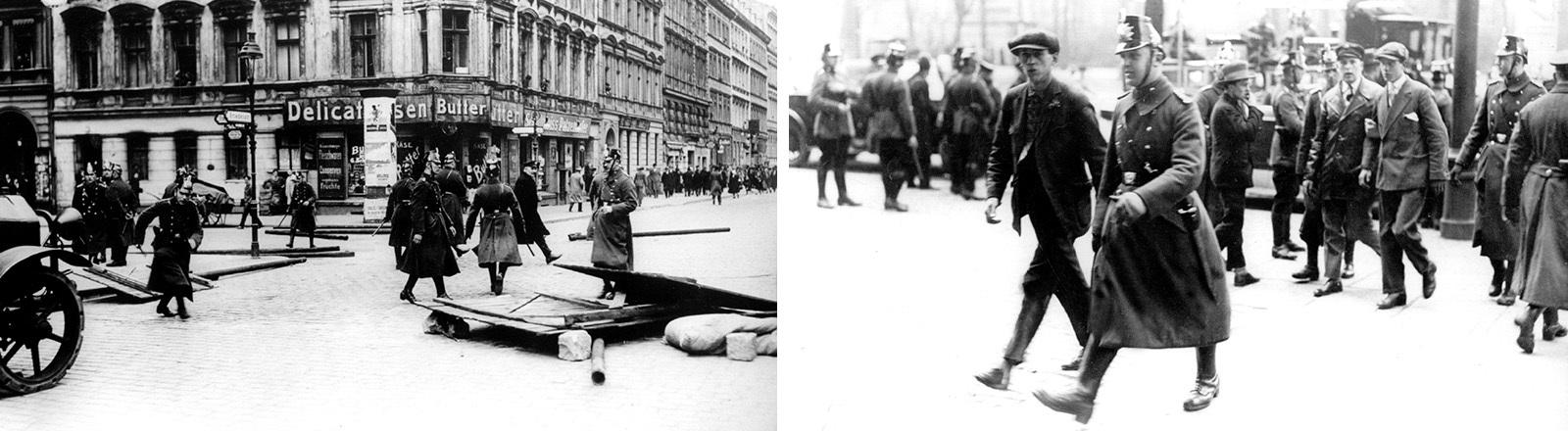 Polizisten entfernen eine von den Kommunisten errichtete Barrikade von einer Berliner Straße. Im Hintergrund eine auseinandergetriebene Gruppe von Demonstranten während der Maifeier 1929 (links). Festgenommene Demonstranten der von Unruhen begleiteten Maifeier 1929 in Berlin werden von Polizisten abgeführt (rechts).