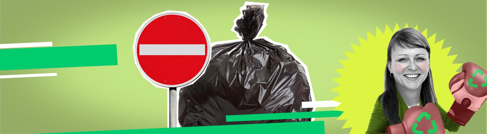 Warnschild vor Müll und Frau mit Boxhandschuhen