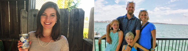 Zero-Waste-Bloggerin Kathryn Kellogg (links) und Familie Keets (rechts)