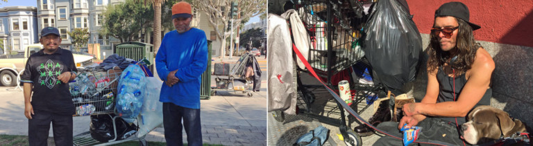 Carlos und sein Kumpel (links) und Zac (rechts) sammeln den Müll in San Francisco ein