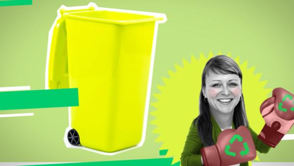 Mülltonne und Frau mit Boxhandschuhen