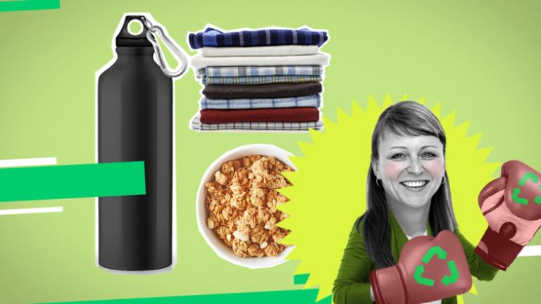 Trinkflasche, Stofftaschentücher, Müsli und Frau mit Boxhandschuhen
