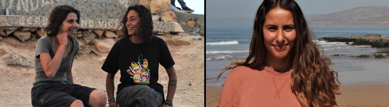 Drei junge Frauen aus Marokko am Strand und im Skaterpark