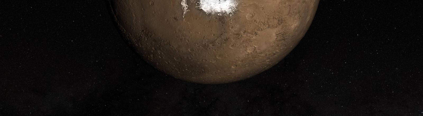 Südseite: der Südpol des Planeten Mars