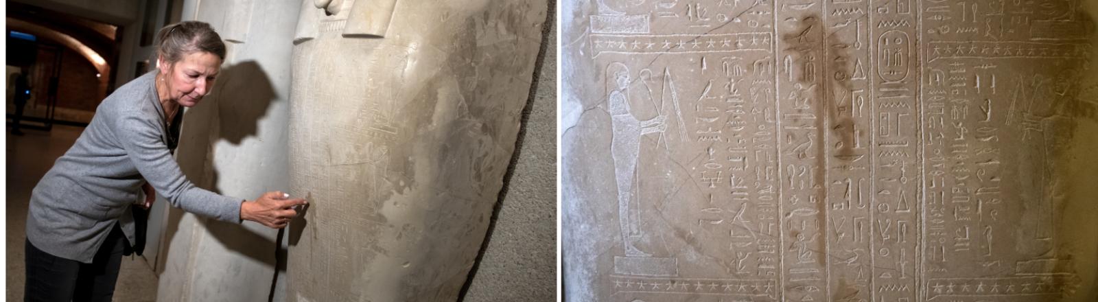 Friederike Seyfried, Direktorin des Ägyptischen Museums, zeigt Spuren der Sachbeschädigungen an einem Sarkophag des Propheten Ahmose (links) und die Spuren im Detail (rechts)