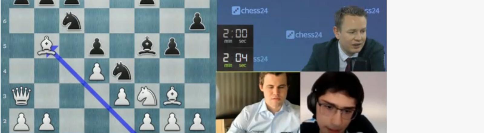 Schach in Fenstern: Szene aus dem Spiel Magnus Carlsens gegen Alireza Firouzja