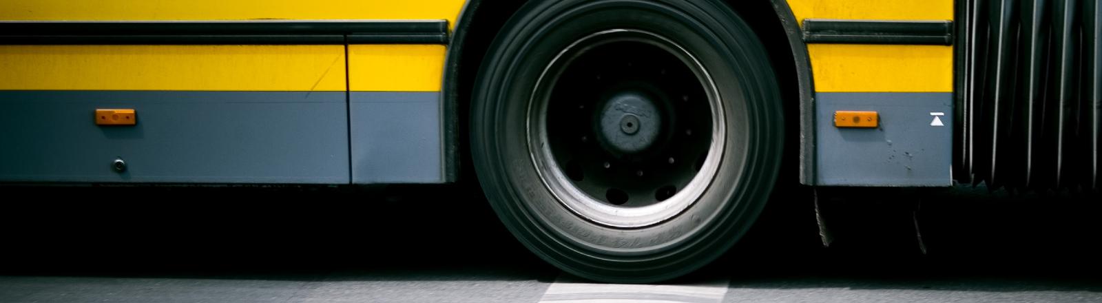 Teilansicht eines Busses auf einer Straße