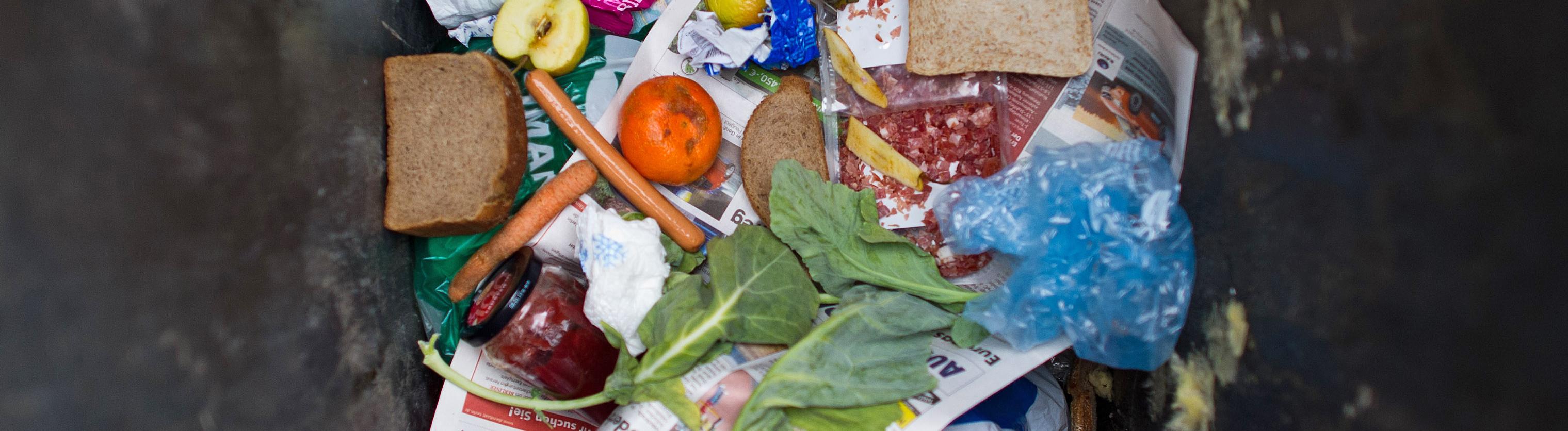 Blick in eine Mülltonne, in der neben Papier auch Wurst, Brot, Karotten, Äpfel, eine Orange und ein volles Marmeladenglas liegen; Bild: dpa