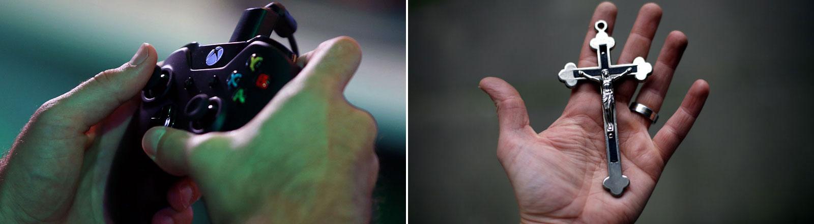 Ein Gamer bedient eine Spielekonsole. Auf einer ausgestreckten Hand liegt ein Kreuz.