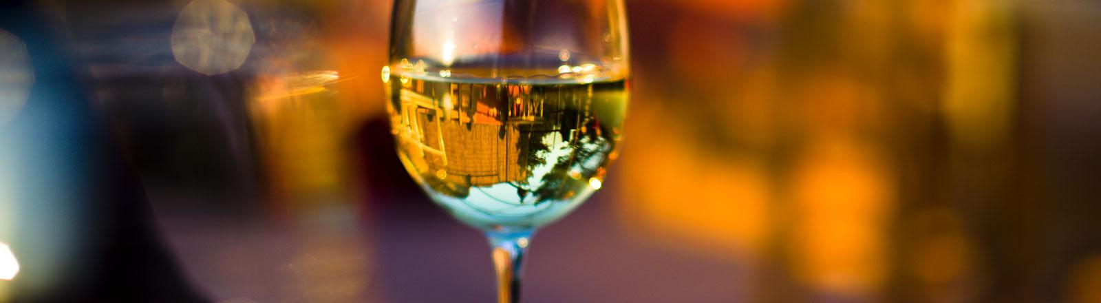 Ein Weinglas gefüllt mit Weißwein.