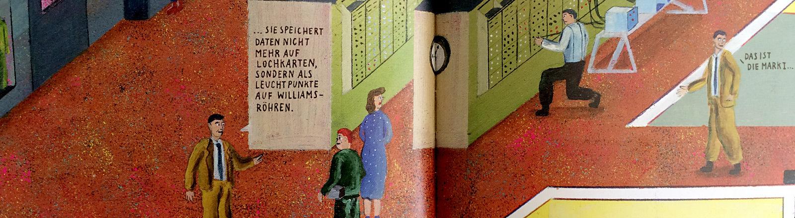 """Collage: Comiczeichner Robert Deutsch und das Cover seines Graphic Novels """"Turing""""."""
