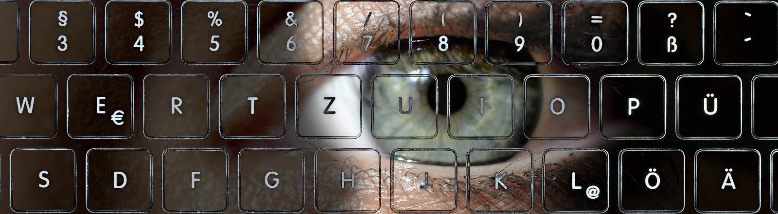 Eine stilisierte Tastatur und das Auge einer Frau.