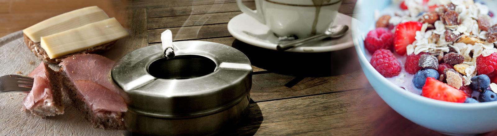 Wurstbrot Käsebrot Frühstück Kaffee Zigarette Müsli