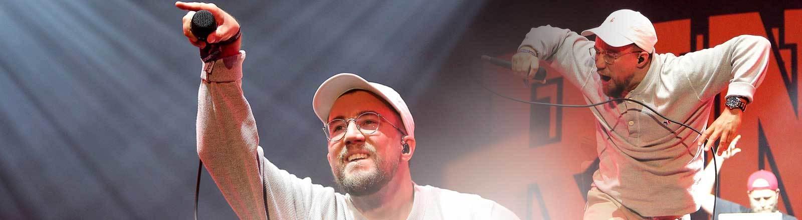 Rapper Prinz Pi aka Friedrich Kautz bei einem Konzert in Berlin 2017